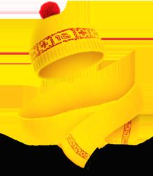 Желтая фирменная шапка с помпоном и шарф