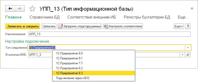 структура базы данных 1с предприятие 8 3